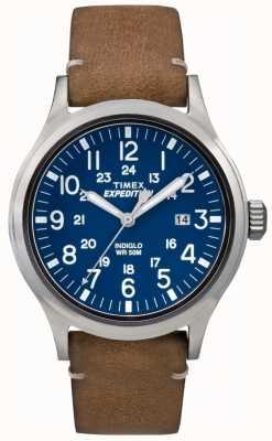 Timex Mens scout blauwe wijzerplaat bruin lederen band TW4B01800