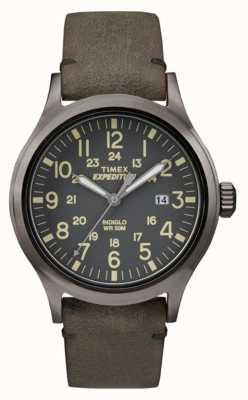 Timex Mens scout zwarte wijzerplaat grijs lederen band TW4B01700