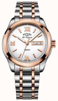 Rotary Heren tweekleurig legacy roestvrijstalen horloge GB90175/06