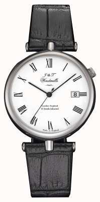 J&T Windmills Heren draadnaald mechanisch horloge zwarte bandjes WGS10004/01
