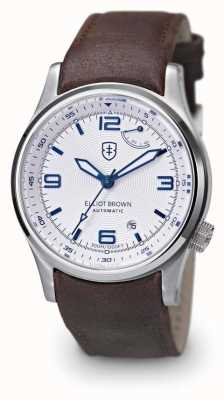 Elliot Brown Heren tyneham bruin lederen witte wijzerplaat display caseback 305-D04-L14