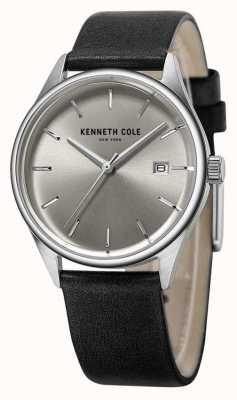 Kenneth Cole Vrouwen zwart leren riem zilveren wijzerplaat KC10025930