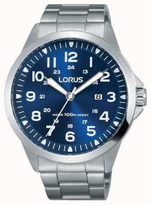 Lorus Heren roestvrij stalen armband blauwe wijzerplaat RH925GX9