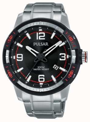 Pulsar Heren roestvrij stalen armband zwarte wijzerplaat PS9475X1