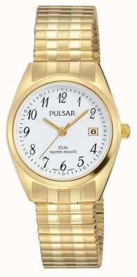 Pulsar Womens goud toon roestvrij staal witte wijzerplaat PH7444X1