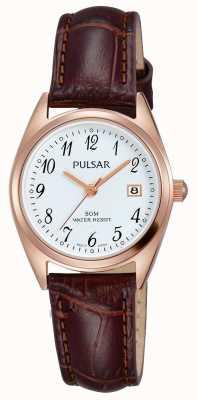 Pulsar Womens bruine lederen band witte wijzerplaat PH7448X1