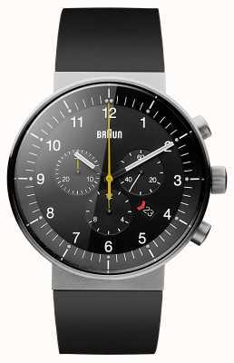 Braun Heren prestige chronograaf zwarte rubberen band zwarte wijzerplaat BN0095BKSLBKG