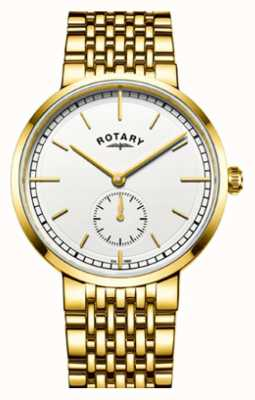 Rotary Heren canterbury goudkleurige roestvrijstalen witte wijzerplaat GB05062/02