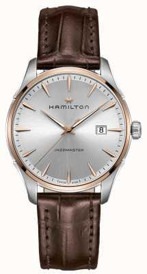 Hamilton Mens jazzmaster bruin lederen band zilveren wijzerplaat H32441551