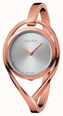 Calvin Klein Dames licht medium roségouden armband zilveren wijzerplaat K6L2M616