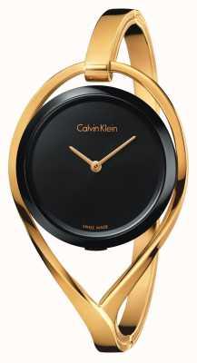 Calvin Klein Vrouwelijke lichte kleine goudkleurige bangle zwarte wijzerplaat K6L2S411
