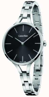 Calvin Klein Vrouwen grafische roestvrijstalen armband zwarte wijzerplaat K7E23141