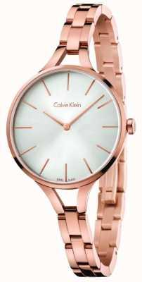 Calvin Klein Womens grafische roosgouden toon armband zilveren wijzerplaat K7E23646