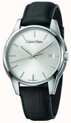 Calvin Klein Menstone zwarte leren riem zilveren wijzerplaat K7K411C6