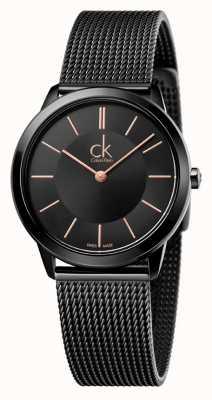 Calvin Klein Dames minimaal | roestvrij stalen zwarte gaasband | K3M22421