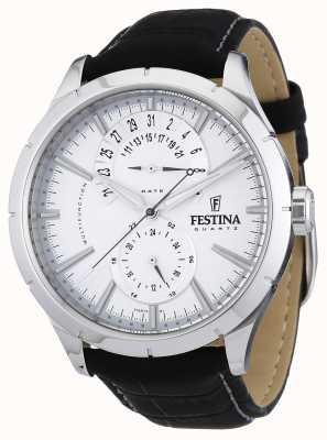 Festina Mens zwart leren riem wit F16573/1