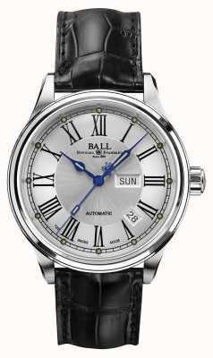 Ball Watch Company Trainmaster Romeinse automatische krokodilband wit wijzerplaat NM1058D-L4J-WH