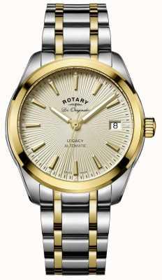 Rotary Womens legacy automatische two tone roestvrij staal gouden wijzerplaat LB90166/03