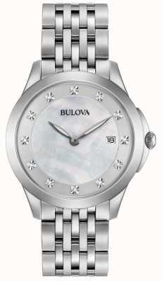 Bulova Womans roestvrij staal zilveren diamanten 96S174