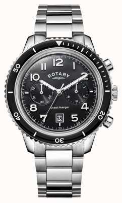 Rotary Mens oceaan wreker chronograaf zwarte wijzerplaat GB05021/04