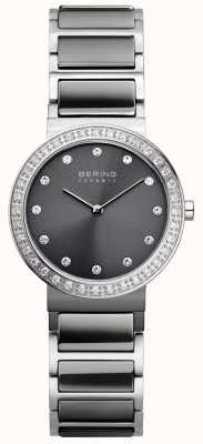 Bering Womans geborsteld zilver klassieke slanke keramische 10729-703