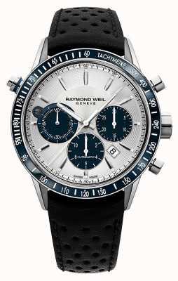 Raymond Weil Mens automatische chronograaf wit zwart lederen band 7740-SC3-65521