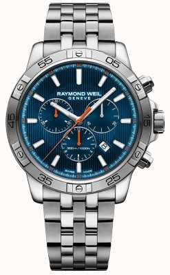 Raymond Weil Heren tango 43mm blauw chronograaf wijzerplaat roestvrij staal 8560-ST2-50001