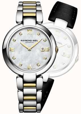 Raymond Weil Vrouwen schijnen tweekleurige roestvrijstalen diamant dot 1600-STP-00995