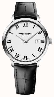 Raymond Weil Mens slanke wit zwart lederen 5488-STC-00300