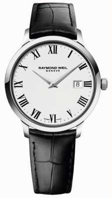 Raymond Weil Slanke witte zwarte lederen band voor heren 5488-STC-00300