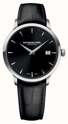 Raymond Weil Mens slanke zwart zwart leder 5488-STC-20001