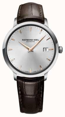 Raymond Weil Heren slanke zilverbruine lederen band 5488-SL5-65001