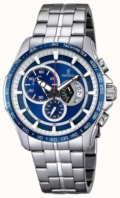 Festina Mens Chronograph roestvrij stalen armband blauwe wijzerplaat F6850/2