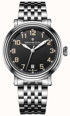 Dreyfuss roestvrij staal 1924 armband zwarte wijzerplaat DGB00152/19