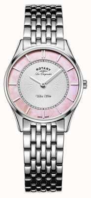 Rotary Dames roestvrij stalen armband roze parelmoer wijzerplaat LB90800/07