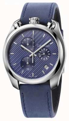 Calvin Klein Mens controle horloge blauw lederen blauwe wijzerplaat K6Z371VN