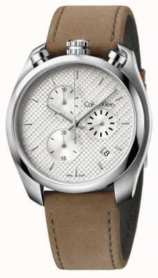 Calvin Klein Mens controle bruin lederen chronograaf K6Z371G6