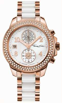 Thomas Sabo Ladies glam chrono keramiek goud / wit WA0173-262-202-38