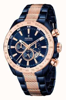 Festina Mens twee toon blauwe roos gouden chronograaf F16886/1