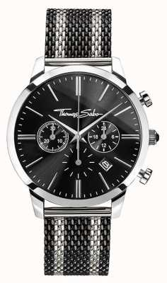 Thomas Sabo Heren rebellengeest chronograaf | roestvrij stalen gaasband | WA0284-280-203-42