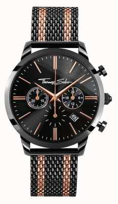 Thomas Sabo Mens rebel geest chronograaf rose goud zwarte WA0289-285-203-42