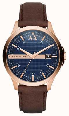 Armani Exchange Mens bruin lederen band rose gouden omhulsel AX2172
