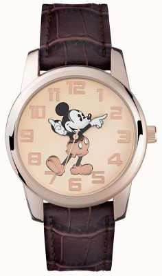 Disney Adult Mickey mouse rose gouden bruinbandje MK1459