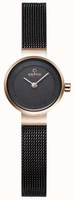 Obaku Womans zwart gaas en goud metaal horloge V199LXVNMN