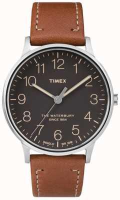 Timex Mens waterbury klassieke zwarte wijzerplaat bruine band TW2P95800
