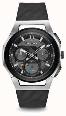 Bulova Mens curv chronograaf zwarte rubberen band 98A161