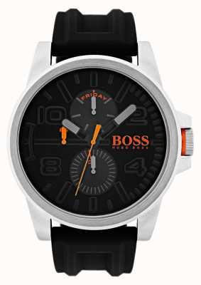 Hugo Boss Orange Detroit zwart rubber datum en dag weergave horloge 1550006