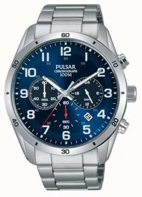 Pulsar Gents 100m roestvrijstellend blauw gezicht chrono horloge PT3829X1