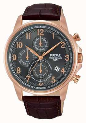 Pulsar Gents bruin leder chronograaf horloge PM3083X1