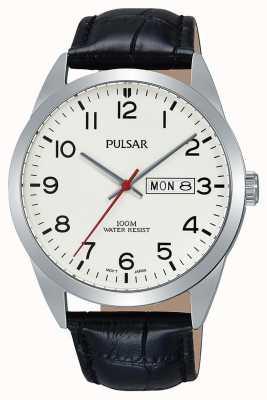 Pulsar Gents klassieke zwarte lederen horloge PJ6065X1